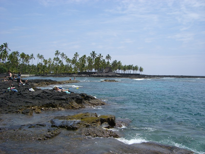 hawaii or alaska - lava rock shoreline in Hawaii