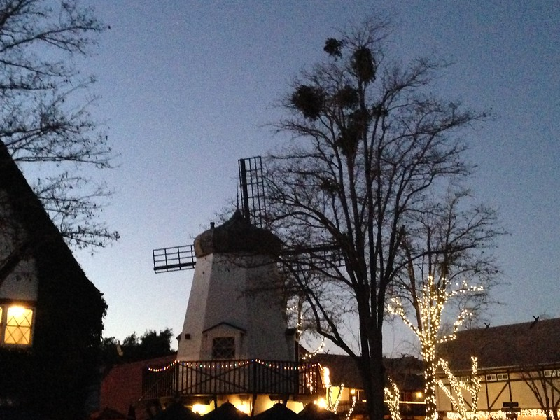 visiting solvang - windmill at night